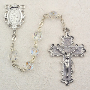 6mm Crystal Deluxe Rosary with Enamel Crucifix