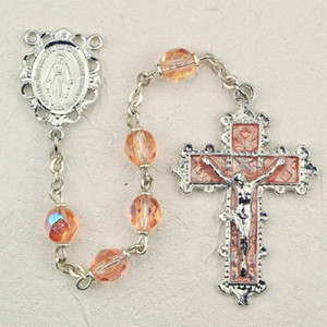 6mm Rose Deluxe Rosary with Enamel Crucifix