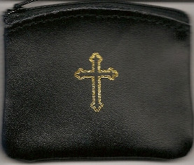 Small Black Leather Rosary Case with Cross