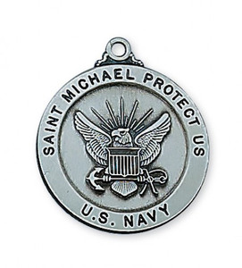 Antique Pewter Saint Michael Medal- Navy