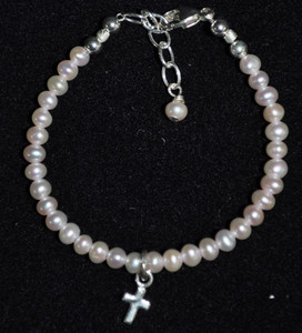 Baby Pink Pearl and Sterling Silver Bracelet