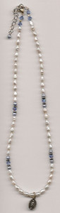 Small Pearl and Swarovski Crystal Necklace with Miraculous Medal