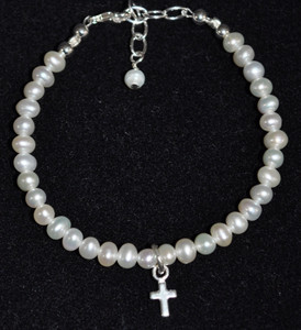 Baby White Pearl and Sterling Silver Bracelet