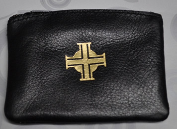 Black Bonded Leather Rosary Case
