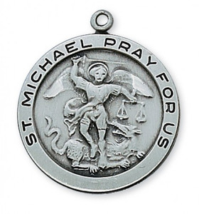 Antique Pewter Saint Michael Medal