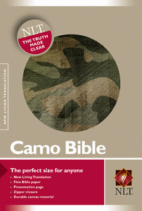 New Living Translation Camo Compact Zipper Bible