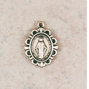 Sterling Silver Fancy Miraculous Medal Baby Necklace