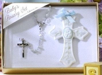 Blue Cross and Rosary Gift Set
