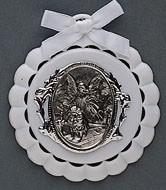 White Guardian Angel Crib Medal