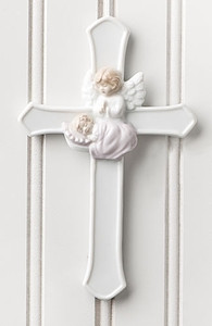 Baby Girl Cross with Angel - Porcelain - Valencia Collection