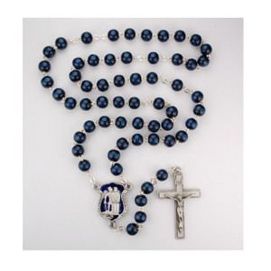 8mm Blue Wooden Police Rosary