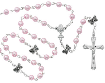 5mm Deluxe Pink Pearl/Butterfly Rosary