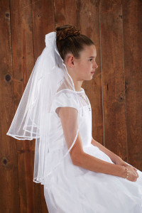 First Communion Veil  with Flowers on Comb