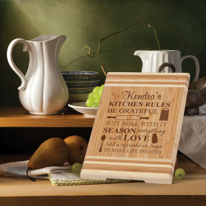 Personalized Kitchen Rules Bamboo Cutting Board