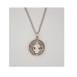 Sterling Silver Small Oval Saint Benedict Necklace