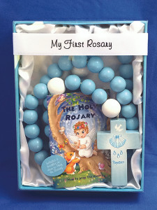My First Baptism Rosary Blue