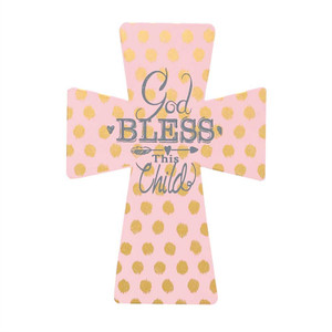 God Bless This Child Pink and Gold Cross