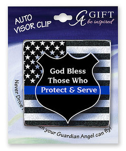 Police Protect & Serve Auto Visor Clip