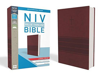 Large Print NIV  Thinline Bible (Burgundy Imitation Leather)