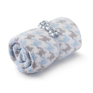 Chenille Blanket and Bow Tie Set Blue