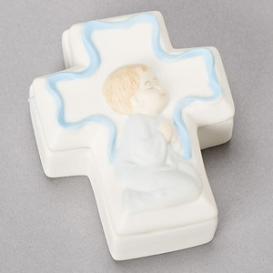 Boy Porcelain Cross Box W/ Inset and  Rosary