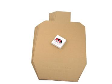 Practice Pack - 25 USPSA Metric (standard) Cardboard Targets and 1 roll of 1000 Tan Pasters
