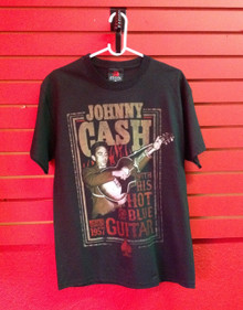 Johnny Cash Red Hot and Blue Guitar T-Shirt