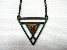Solar Vortex Gun Metal Necklace with Copper Tone Accent
