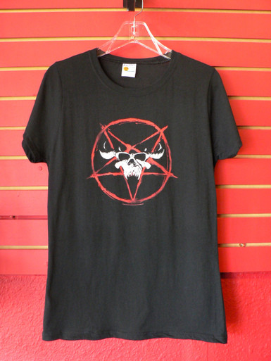 Danzig Skull Logo with Pentagram Girls Ladies Womens Babydoll T-Shirt front