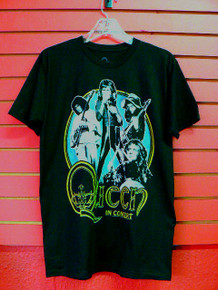 Queen In Concert Vintage 70s Tour Style Print T-Shirt