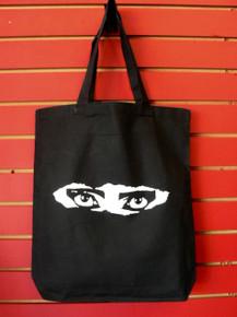 Siouxsie Sioux Peek-A-Boo Eyes Black Cotton Canvas Tote Bag