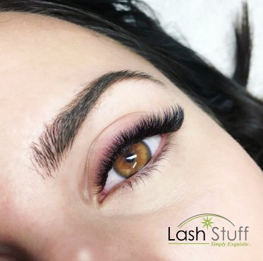 Photo of woman wearing eyelash extensions from Lash Stuff
