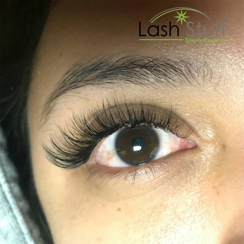 Photo of woman wearing eyelash extensions