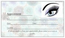 Use these eyelash extension appointment cards to help your eyelash extension clients remember their appointments.
