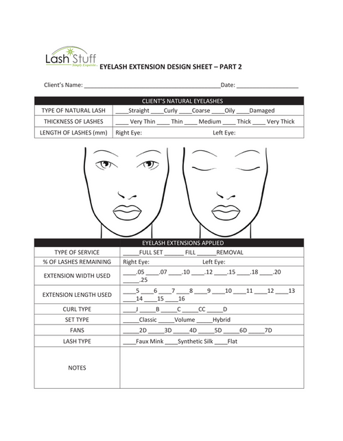 Eyelash Extension Design Sheet | Lash Stuff