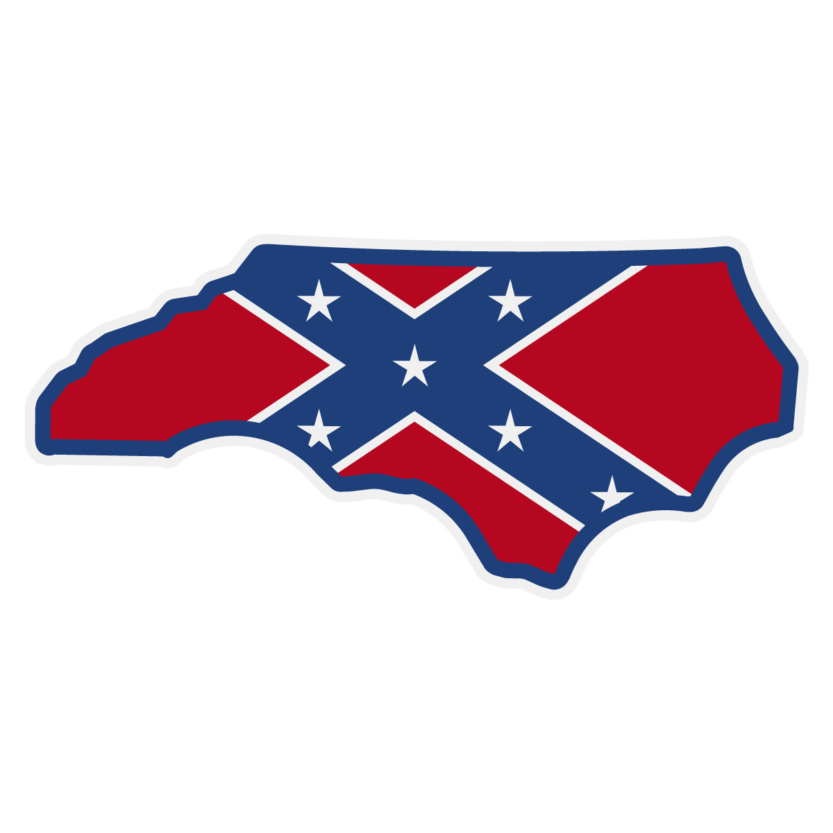 Confederate Flag On Nc Outline Decal The Emergency Mall