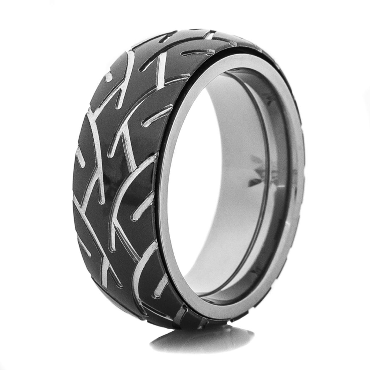 Spinner Black Zirconium Tread Ring
