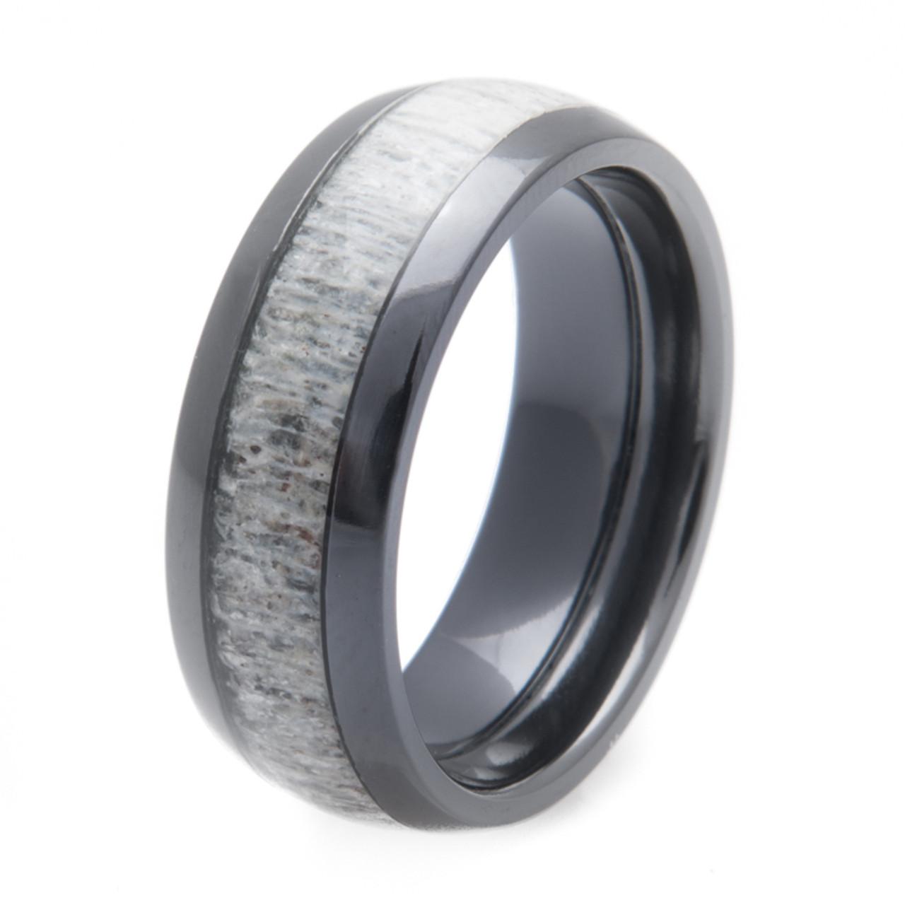 mens black zirconium deer antler ring - Cool Wedding Rings For Guys