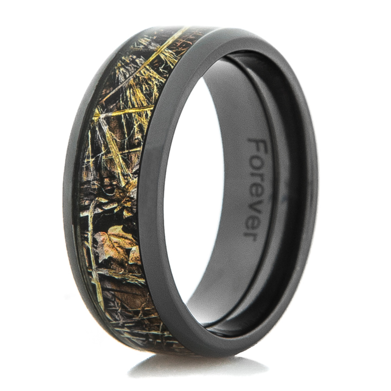 Wood Mens Wedding Bands Canada: Black Zirconium Realtree MAX-4 Camo Ring