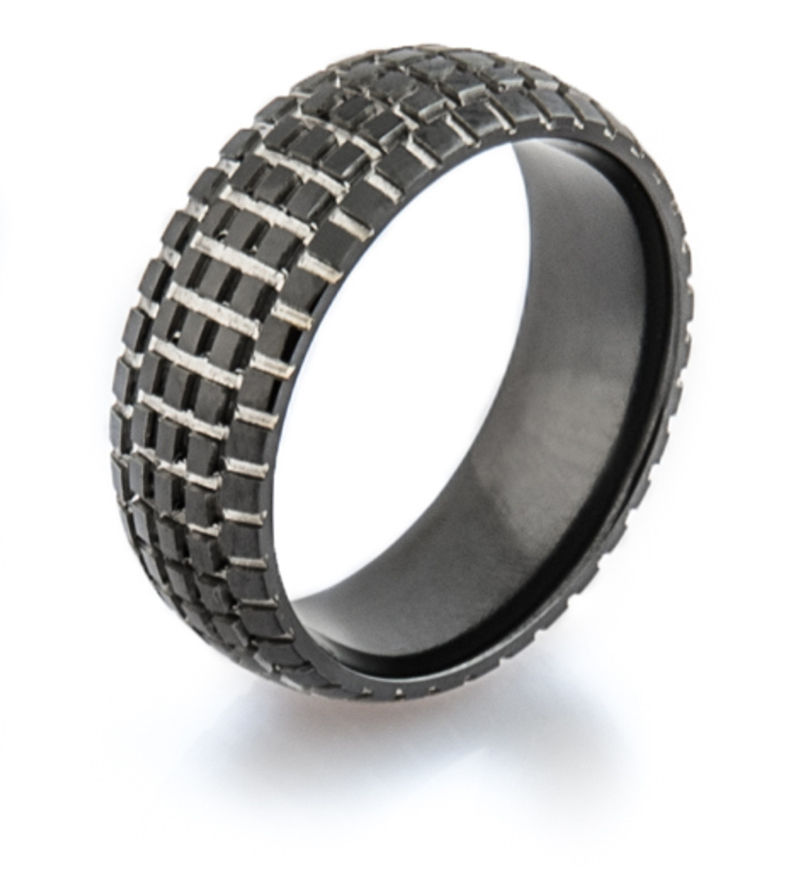 mens black dirt bike wedding ring - Mud Tire Wedding Rings
