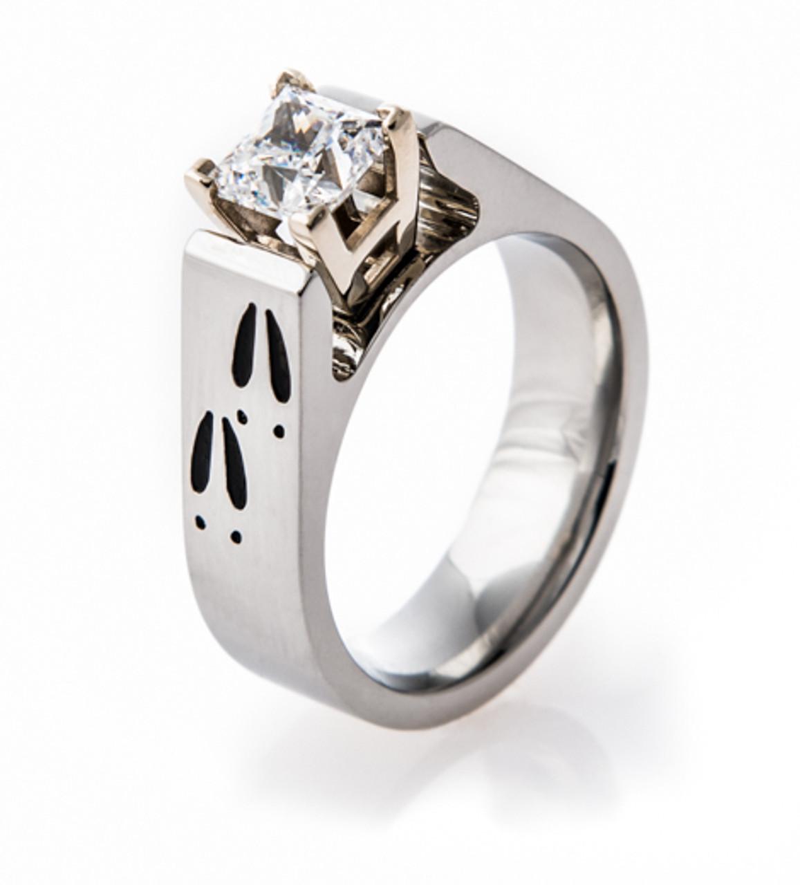 Cobalt Chrome Deer Track Wedding Rings Set Titanium Buzz