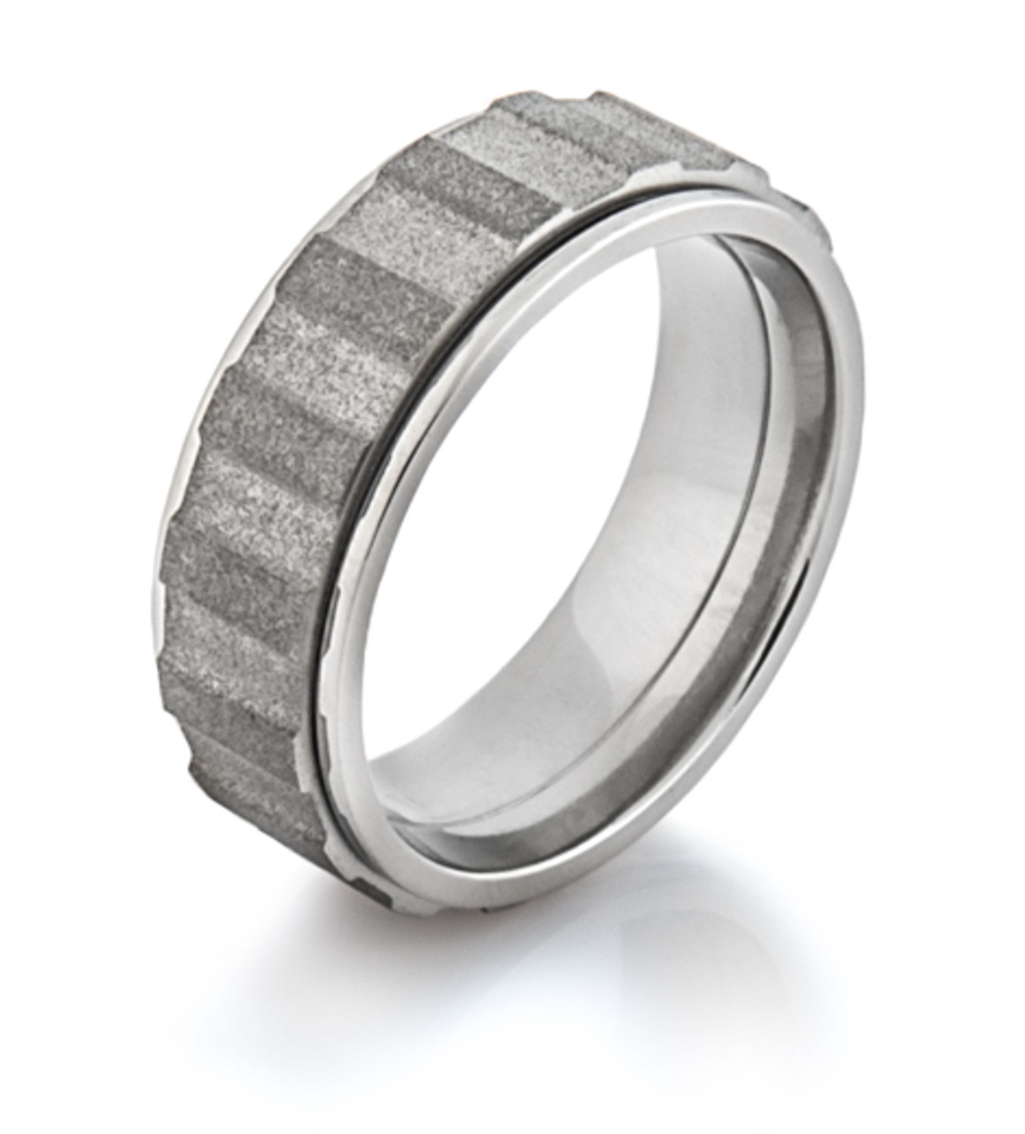 Mens Titanium Spinning Gear Ring