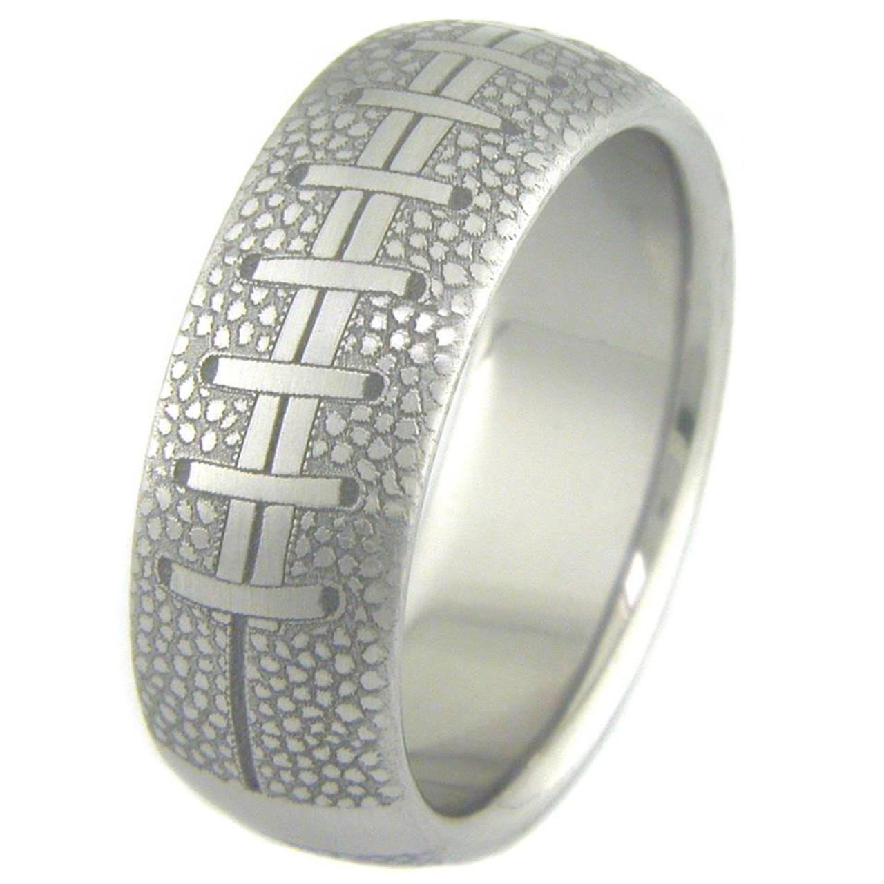men39s titanium football wedding ring titanium buzz With football wedding ring