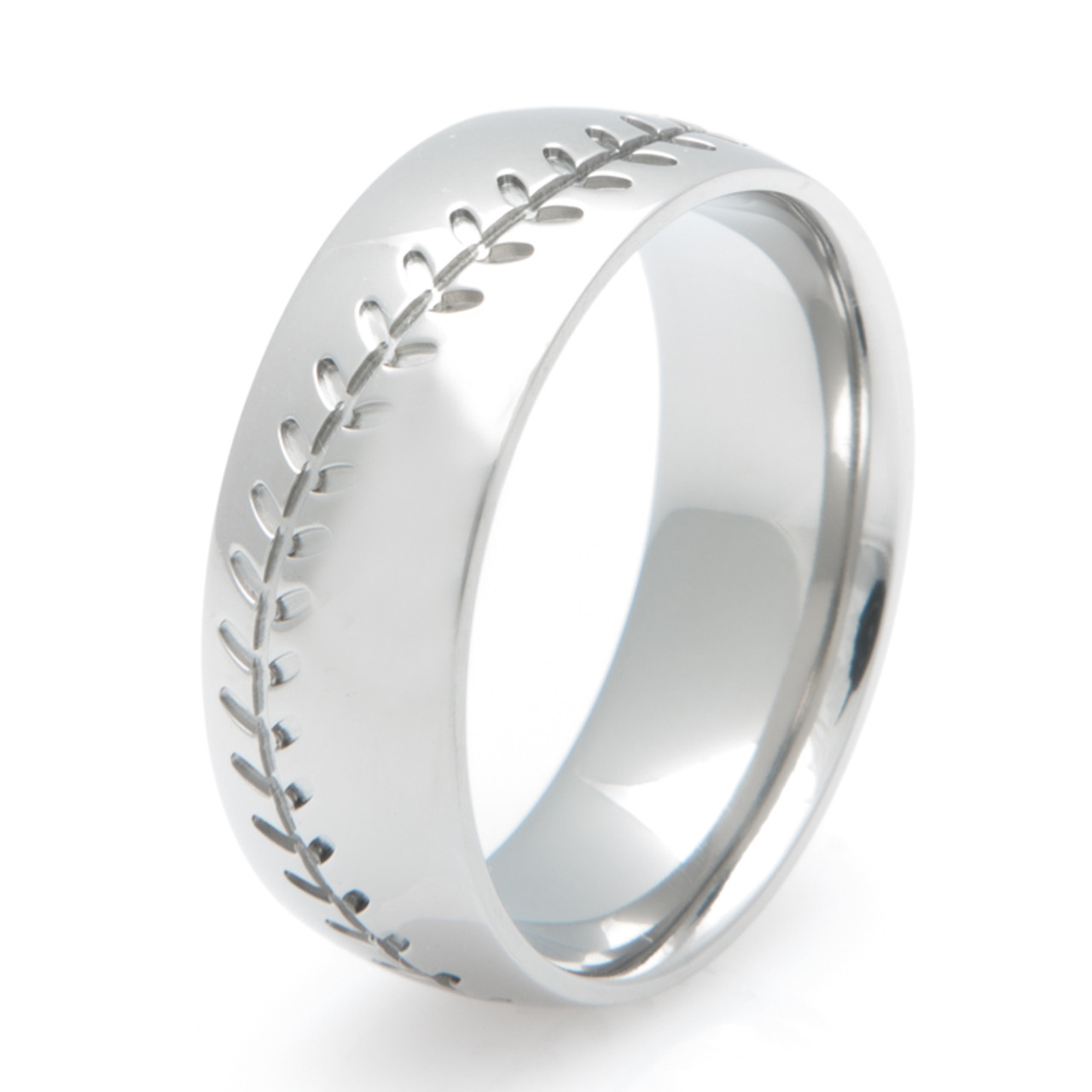 Mens Titanium Baseball Stitch Wedding Ring