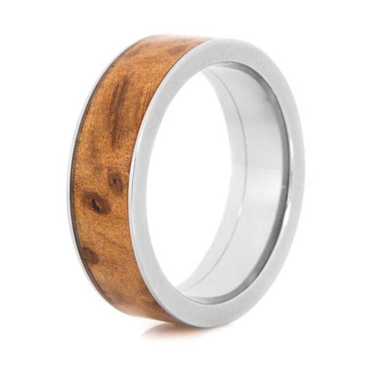 Men S Titanium And Thuya Burl Wood Ring