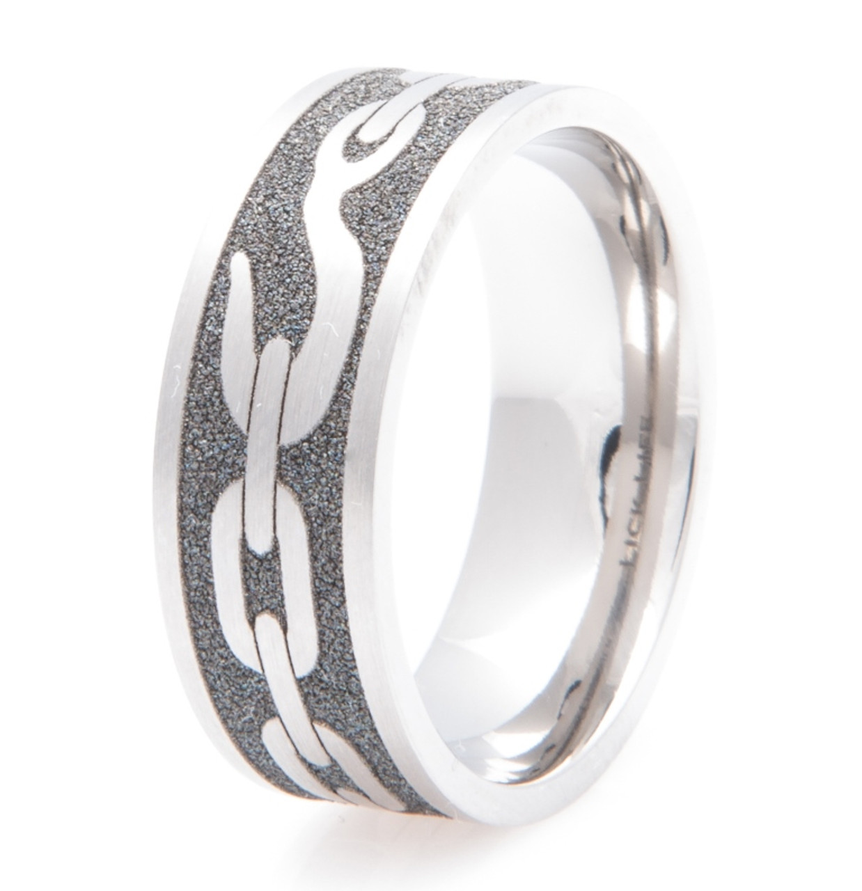 Mens Laser Carved Titanium Tow Chain Band