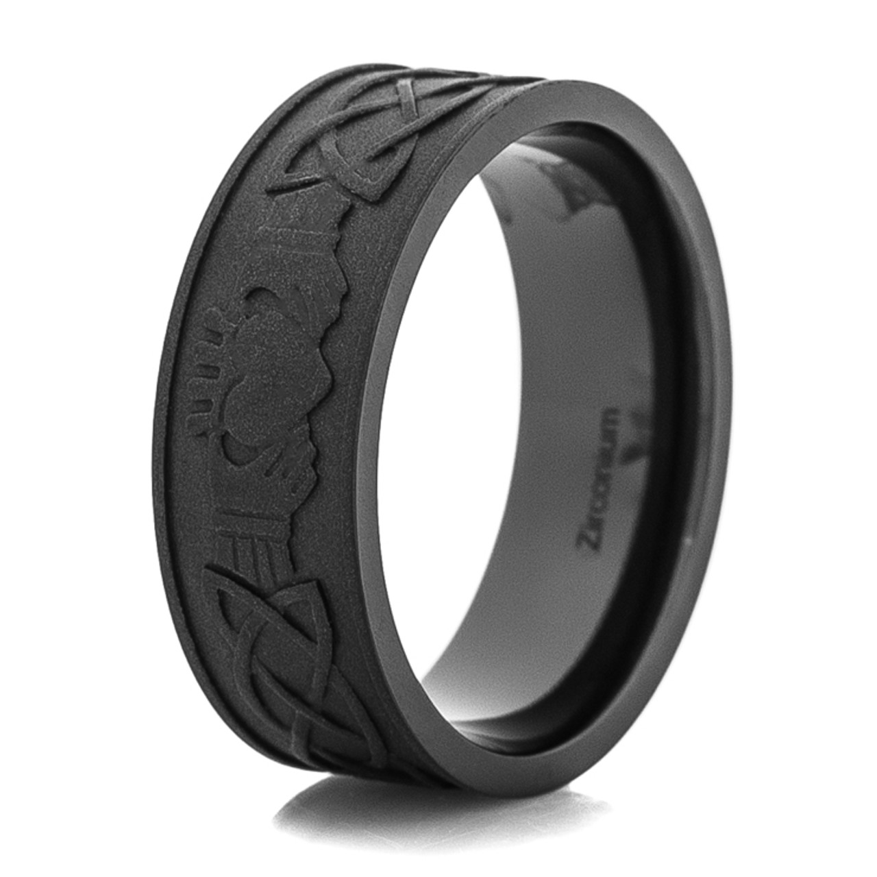 Men S Blacked Out Claddagh Ring Titanium Buzz