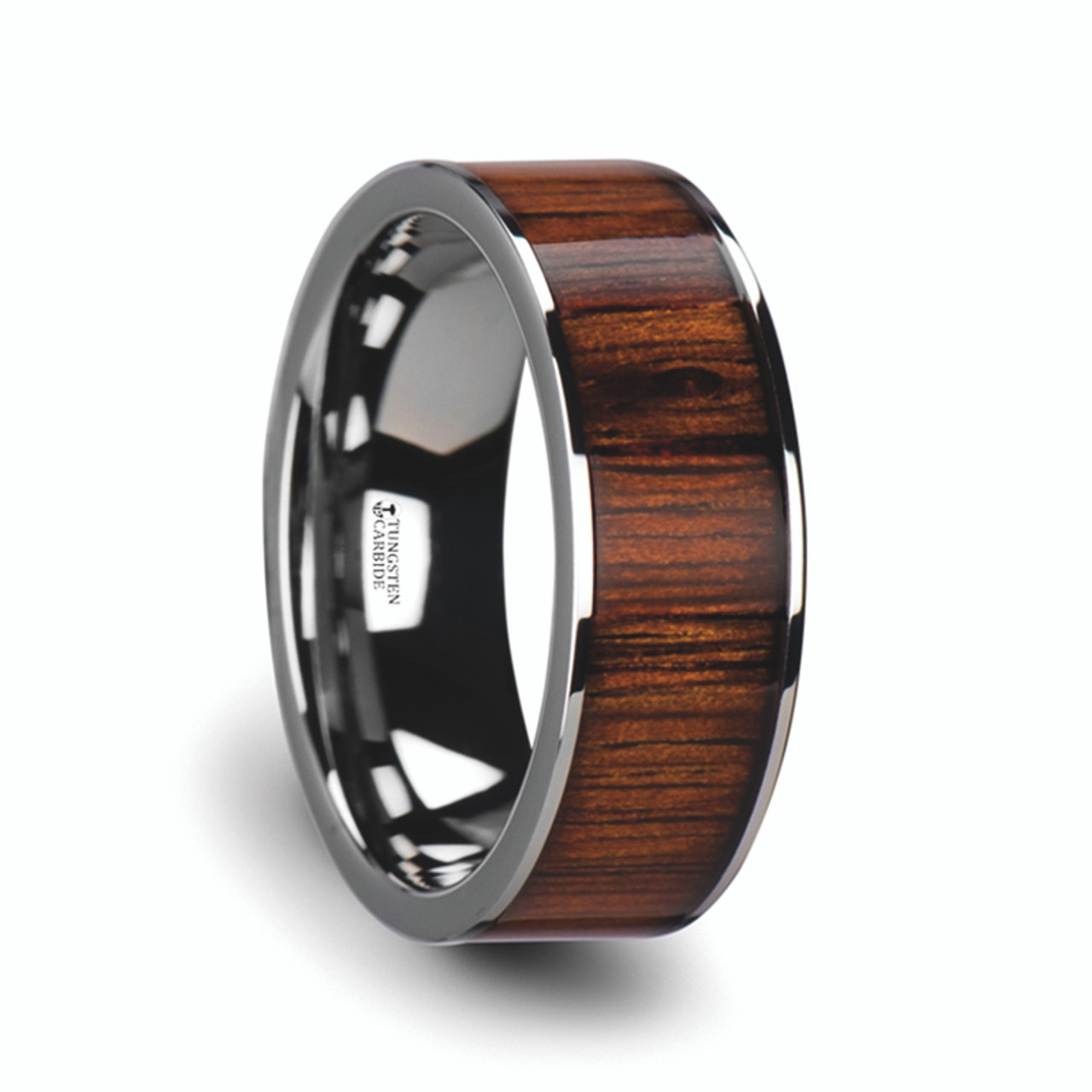 Wood Mens Wedding Bands Canada: Men's Flat Tungsten Carbide Wedding Band With Rare Koa