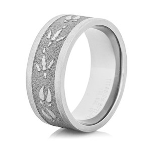Sandblasted Deer and Turkey Track Rings