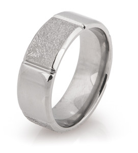Alternating Finish Arctic Titanium Ring